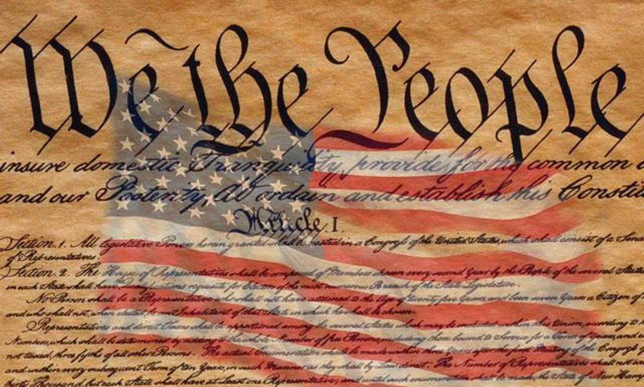 we the people declaration and flag